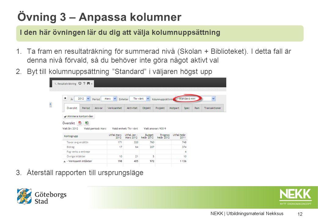 1.Ta fram en resultaträkning för summerad nivå (Skolan + Biblioteket).