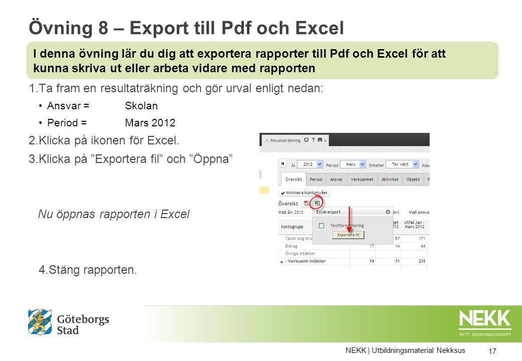 Övning 8 – Export till Pdf och Excel 1.Ta fram en resultaträkning och gör urval enligt nedan: Ansvar = Skolan Period = Mars 2012 2.Klicka på ikonen för Excel.