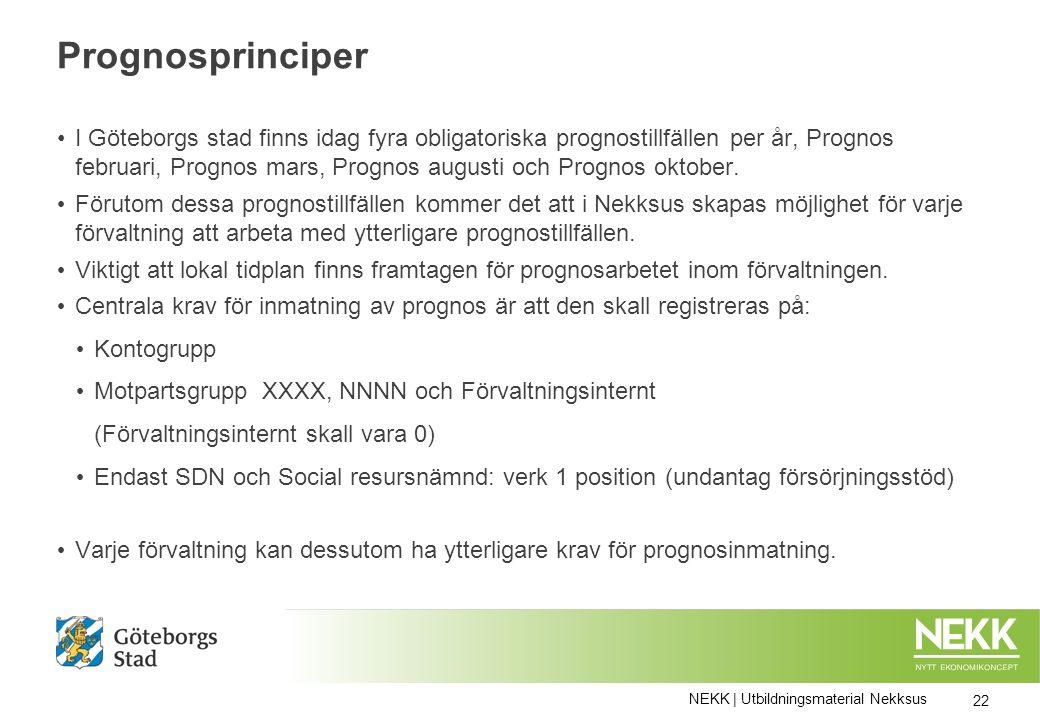 Prognosprinciper I Göteborgs stad finns idag fyra obligatoriska prognostillfällen per år, Prognos februari, Prognos mars, Prognos augusti och Prognos oktober.