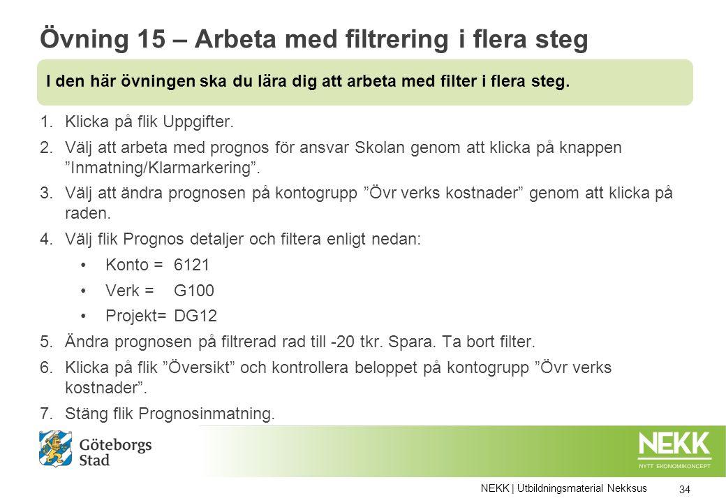 Övning 15 – Arbeta med filtrering i flera steg 1.Klicka på flik Uppgifter.
