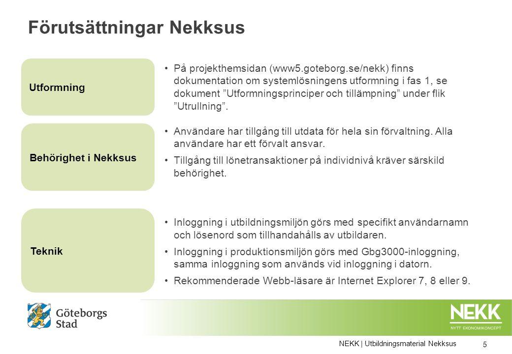 Systemvisning NEKK | Utbildningsmaterial Nekksus 26 Stödanteckningar till utbildaren finns i anteckningsfältet Nu går vi in i systemet!