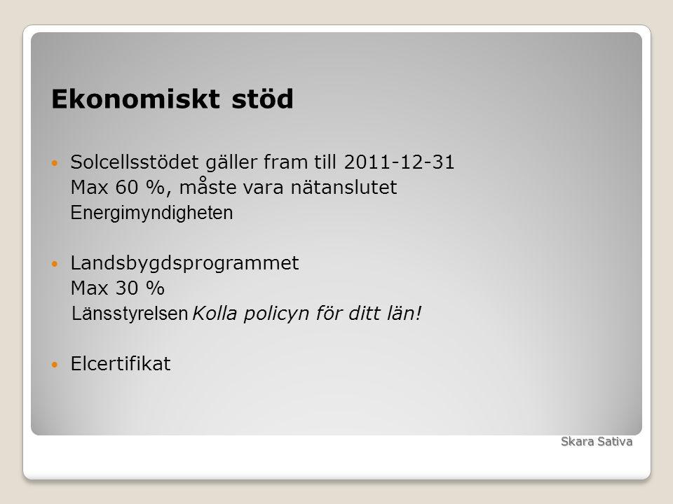 Ekonomiskt stöd Solcellsstödet gäller fram till 2011-12-31 Max 60 %, måste vara nätanslutet Energimyndigheten Landsbygdsprogrammet Max 30 % Länsstyrelsen Kolla policyn för ditt län.