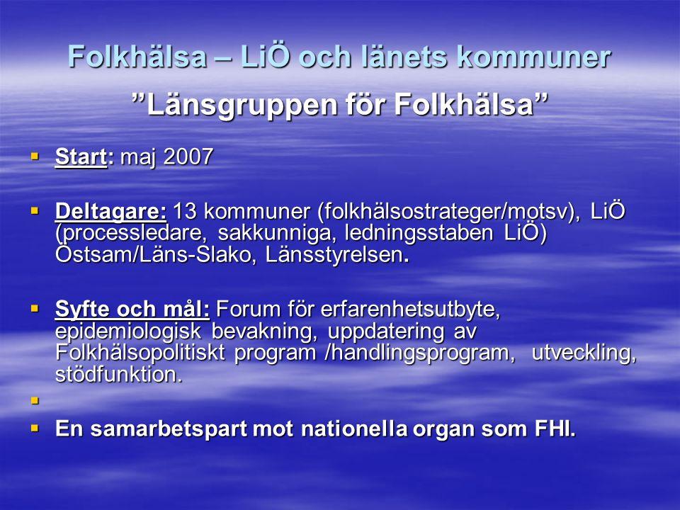 Folkhälsa – LiÖ och länets kommuner Länsgruppen för Folkhälsa  Start: maj 2007  Deltagare: 13 kommuner (folkhälsostrateger/motsv), LiÖ (processledare, sakkunniga, ledningsstaben LiÖ) Östsam/Läns-Slako, Länsstyrelsen.