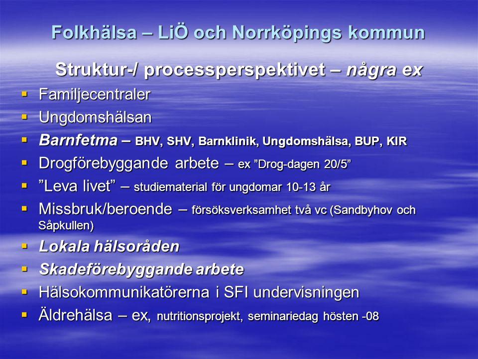 Folkhälsa – LiÖ och Norrköpings kommun Struktur-/ processperspektivet – några ex  Familjecentraler  Ungdomshälsan  Barnfetma – BHV, SHV, Barnklinik, Ungdomshälsa, BUP, KIR  Drogförebyggande arbete – ex Drog-dagen 20/5  Leva livet – studiematerial för ungdomar 10-13 år  Missbruk/beroende – försöksverksamhet två vc (Sandbyhov och Såpkullen)  Lokala hälsoråden  Skadeförebyggande arbete  Hälsokommunikatörerna i SFI undervisningen  Äldrehälsa – ex, nutritionsprojekt, seminariedag hösten -08