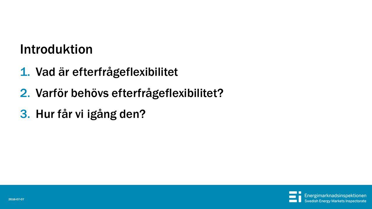 Introduktion 1.Vad är efterfrågeflexibilitet 2.Varför behövs efterfrågeflexibilitet.