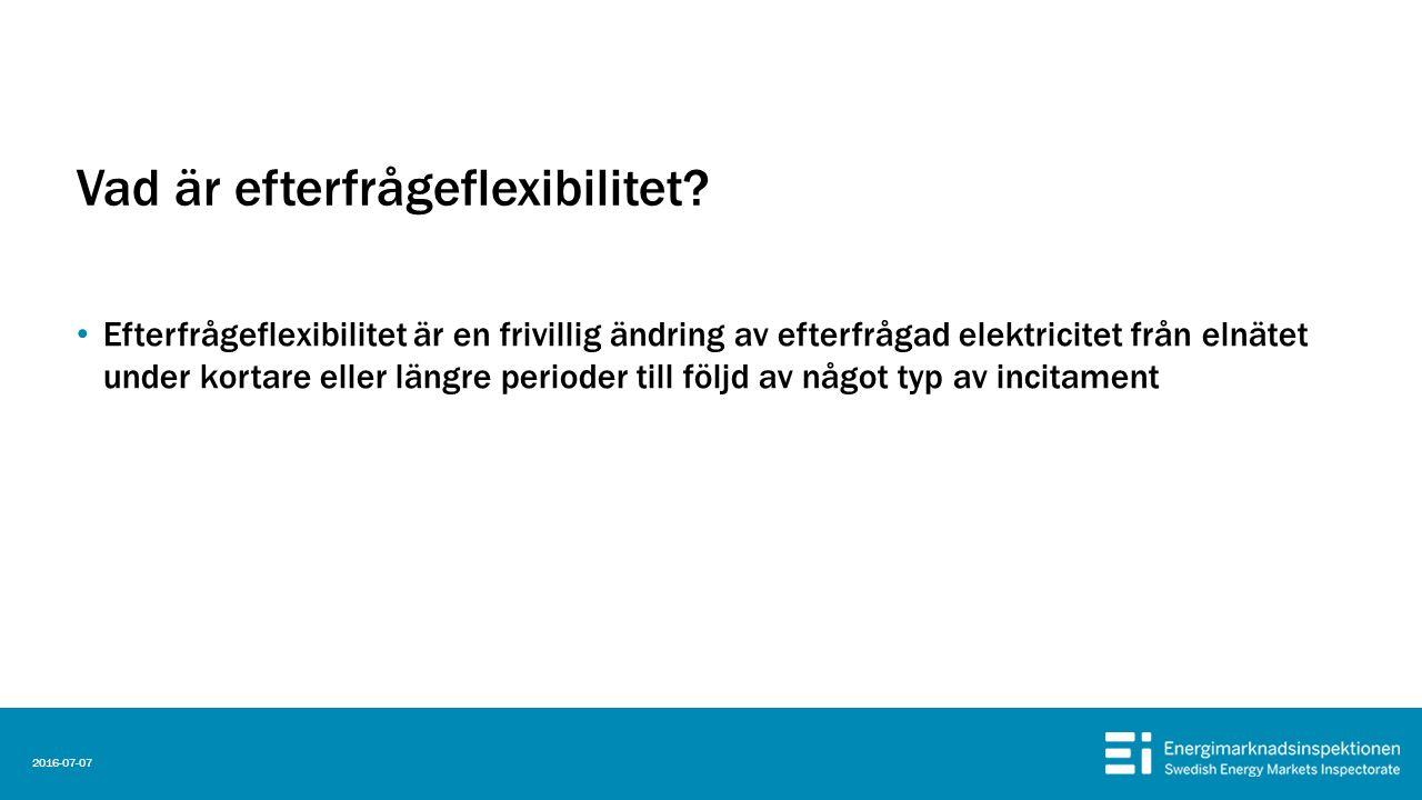 Vad är efterfrågeflexibilitet? Efterfrågeflexibilitet är en frivillig ändring av efterfrågad elektricitet från elnätet under kortare eller längre peri