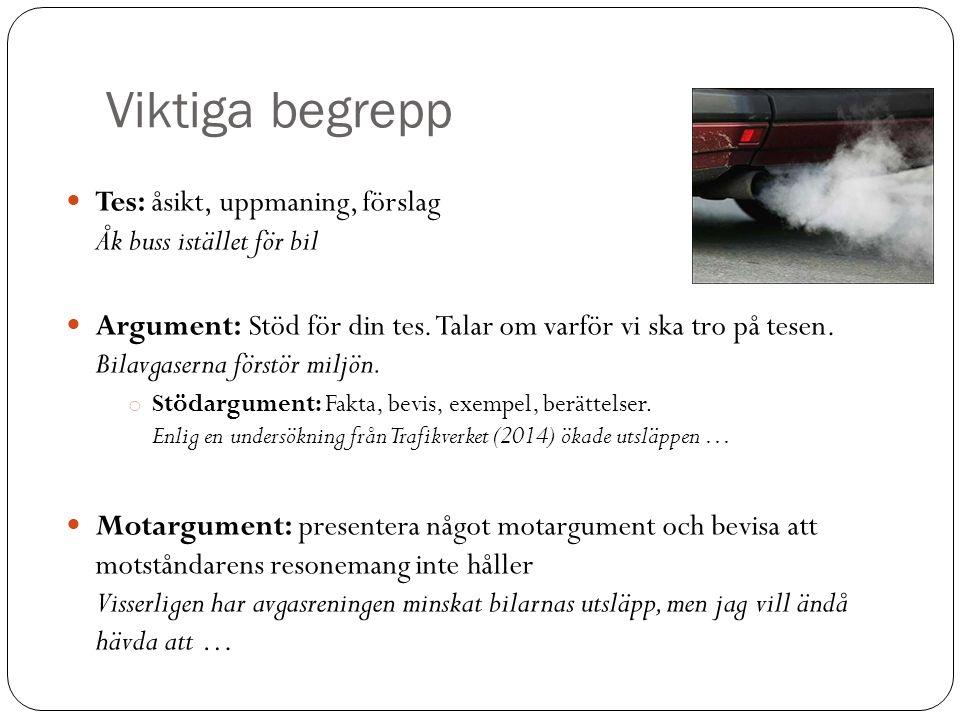 Viktiga begrepp Tes: åsikt, uppmaning, förslag Åk buss istället för bil Argument: Stöd för din tes. Talar om varför vi ska tro på tesen. Bilavgaserna