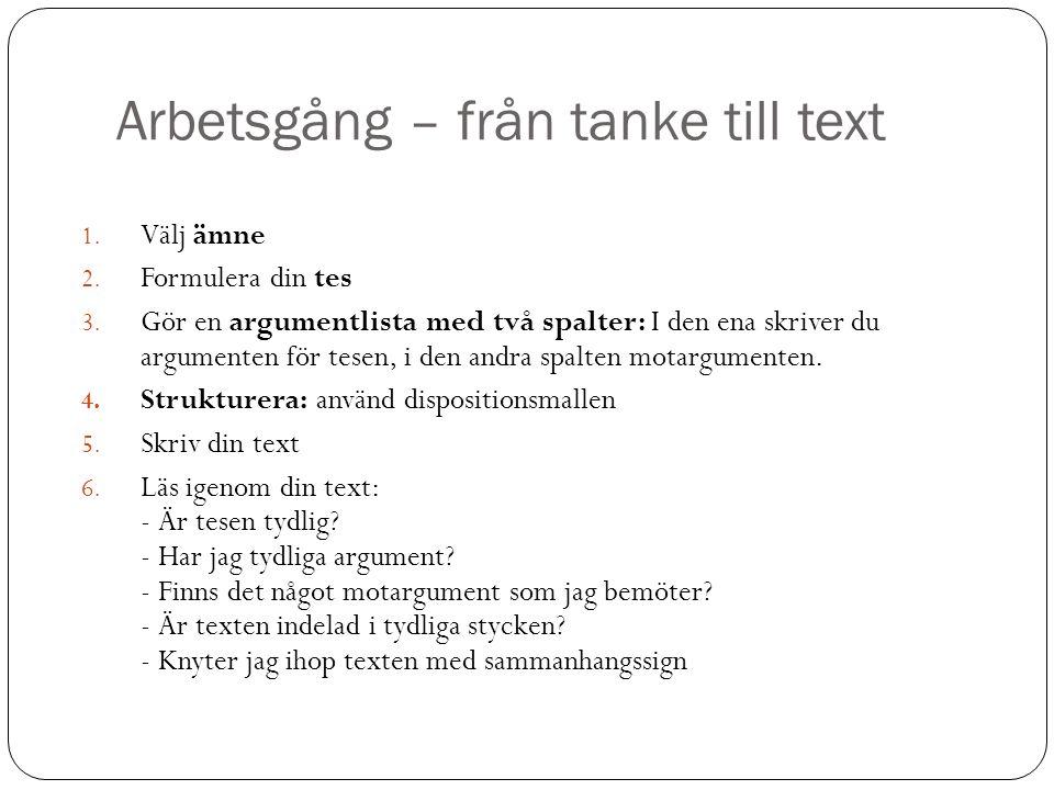 Arbetsgång – från tanke till text 1.Välj ämne 2. Formulera din tes 3.