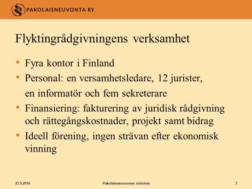 Flyktingrådgivningens främsta uppgifter - Rättshjälp och handledning till asylsökande genom hela asylprocessen - Påverkningsarbete för asylsökandes rättsställning - Allmän juridisk rådgivning till övriga utlännngar i Finland 23.9.2016Pakolaisneuvonnan toiminta4