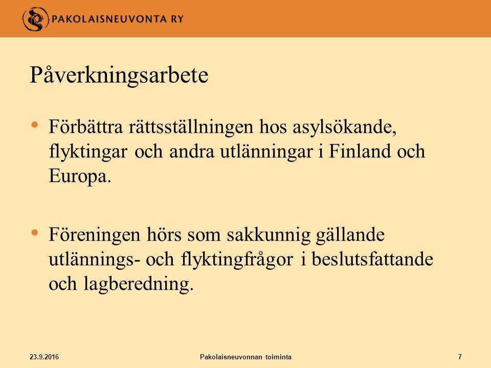 23.9.2016Pakolaisneuvonnan toiminta7 Påverkningsarbete Förbättra rättsställningen hos asylsökande, flyktingar och andra utlänningar i Finland och Europa.
