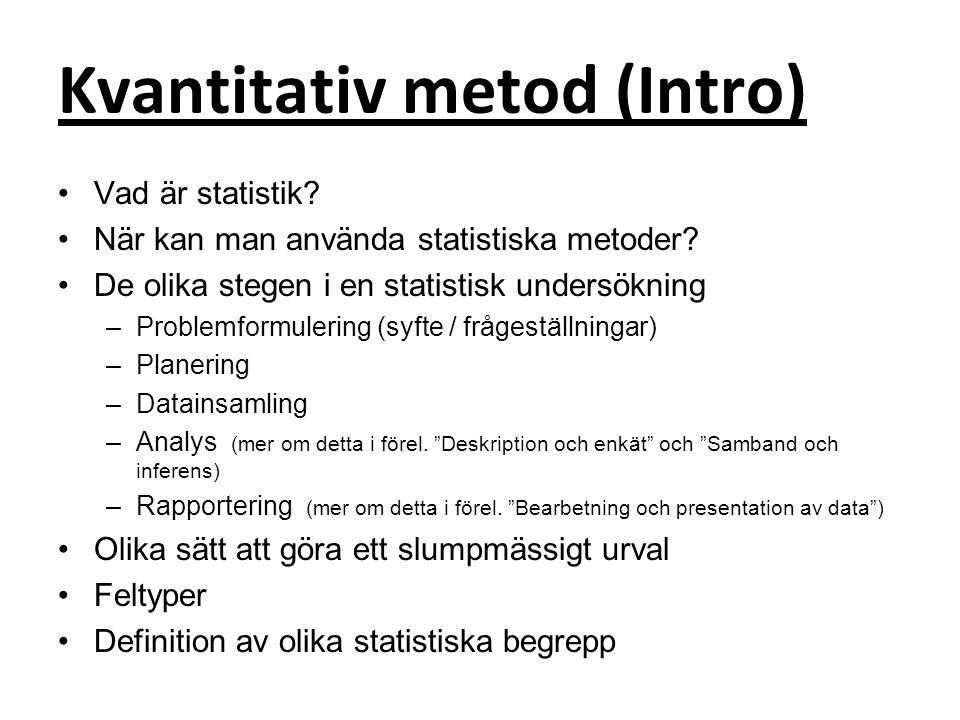 population Population Stickprov, urval INFERENS = Dra slutsatser från data om hela populationen utifrån ett stickprov Data, observationer