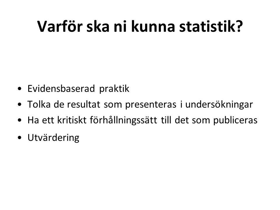 En statistisk undersöknings olika steg: Problemformulering (syfte/frågeställningar) Planering Datainsamling Analys Rapportering