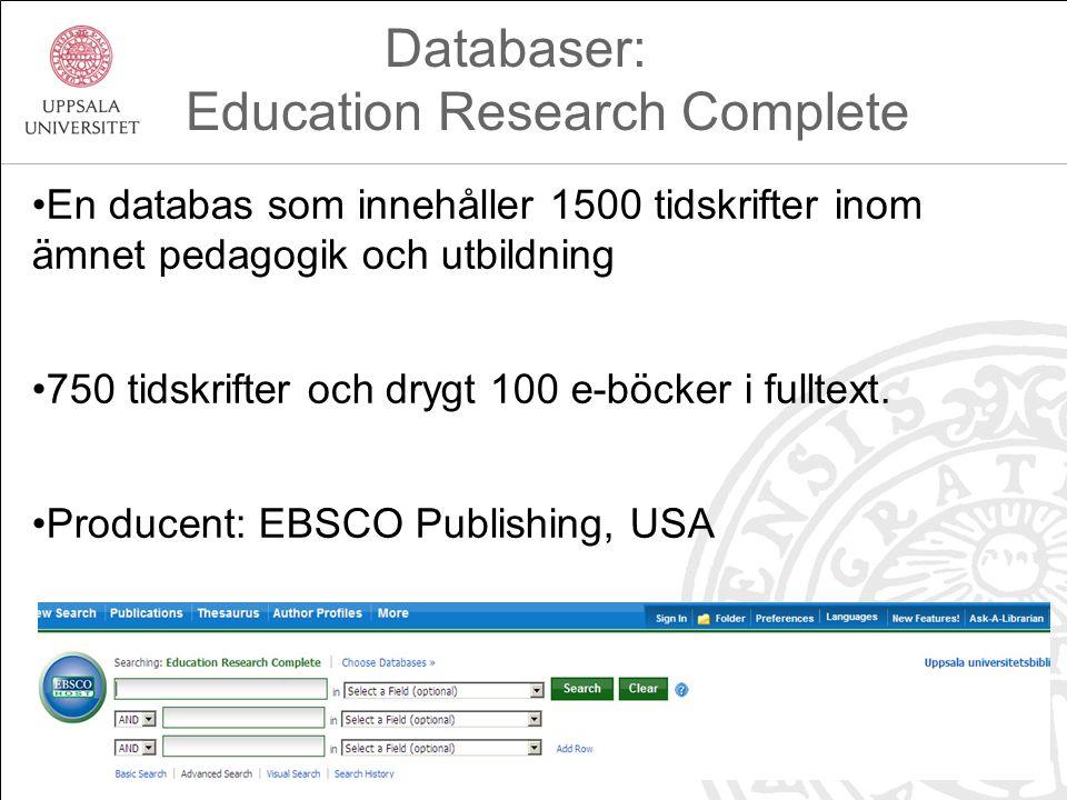 En databas som innehåller 1500 tidskrifter inom ämnet pedagogik och utbildning 750 tidskrifter och drygt 100 e-böcker i fulltext.