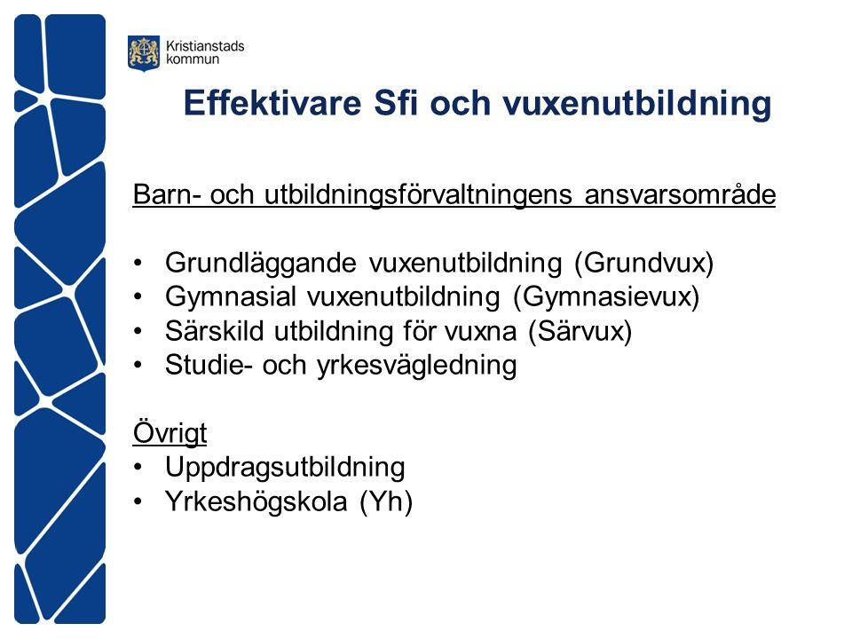 Effektivare Sfi och vuxenutbildning Barn- och utbildningsförvaltningens ansvarsområde Grundläggande vuxenutbildning (Grundvux) Gymnasial vuxenutbildni