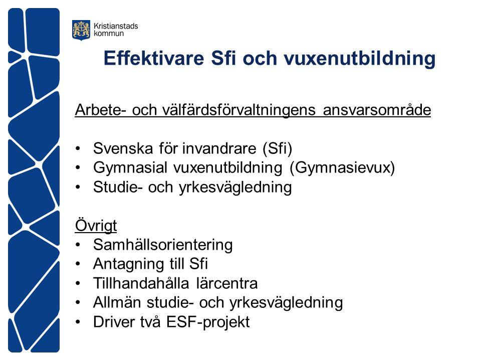 Effektivare Sfi och vuxenutbildning Arbete- och välfärdsförvaltningens ansvarsområde Svenska för invandrare (Sfi) Gymnasial vuxenutbildning (Gymnasiev
