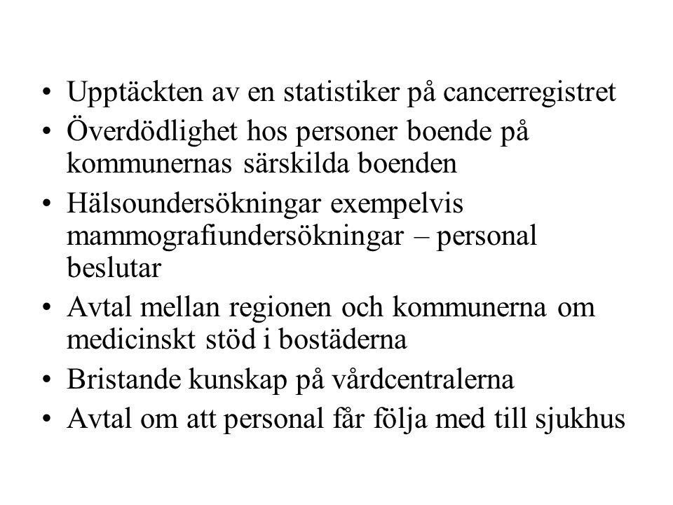 Upptäckten av en statistiker på cancerregistret Överdödlighet hos personer boende på kommunernas särskilda boenden Hälsoundersökningar exempelvis mammografiundersökningar – personal beslutar Avtal mellan regionen och kommunerna om medicinskt stöd i bostäderna Bristande kunskap på vårdcentralerna Avtal om att personal får följa med till sjukhus