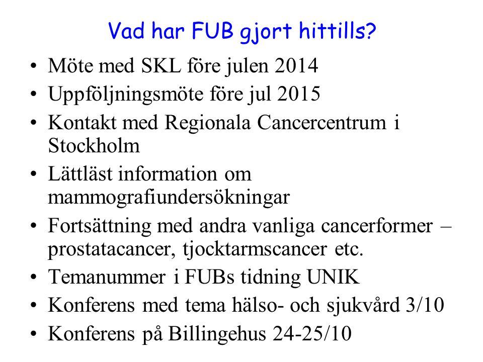 Vad har FUB gjort hittills? Möte med SKL före julen 2014 Uppföljningsmöte före jul 2015 Kontakt med Regionala Cancercentrum i Stockholm Lättläst infor