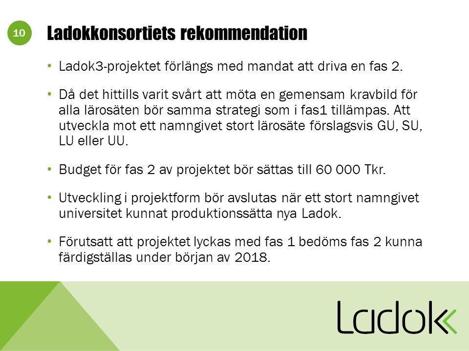10 Ladokkonsortiets rekommendation Ladok3-projektet förlängs med mandat att driva en fas 2.