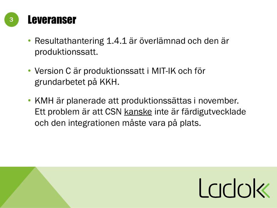 3 Leveranser Resultathantering 1.4.1 är överlämnad och den är produktionssatt.
