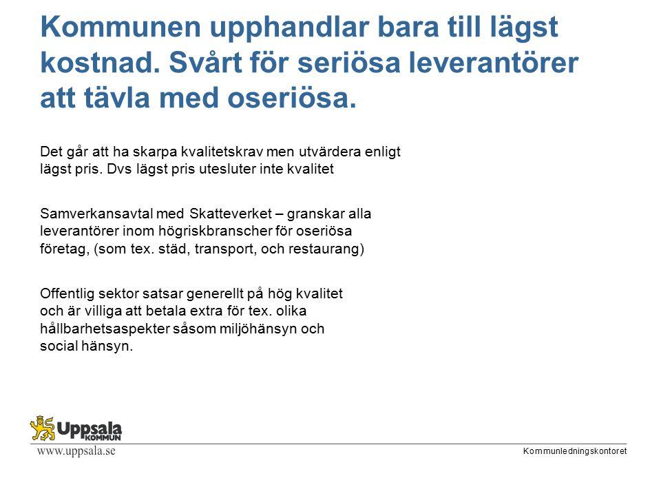 Kommunledningskontoret Kommunen upphandlar bara till lägst kostnad.