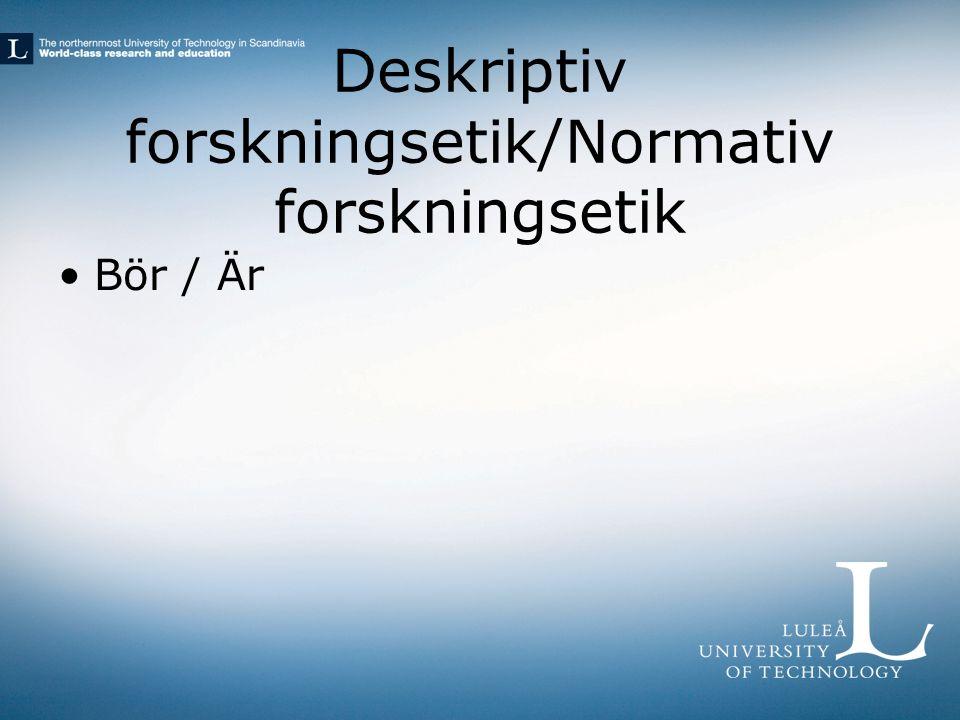 Forskarens etik/Forskarens yrkesetik Juridik/Etik En yrkesmoralisk frågeställning är något annat än t.ex.