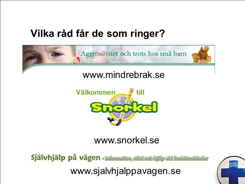 Vilka råd får de som ringer? www.mindrebrak.se www.snorkel.se www.sjalvhjalppavagen.se