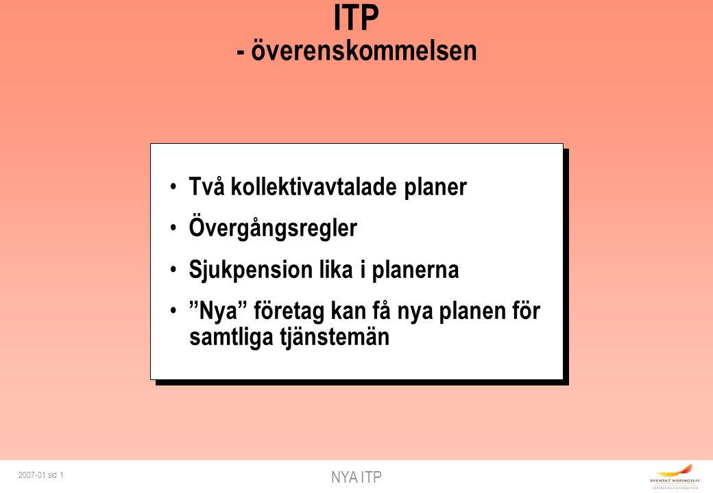 NYA ITP 2007-01 sid 1 ITP - överenskommelsen Två kollektivavtalade planer Övergångsregler Sjukpension lika i planerna Nya företag kan få nya planen för samtliga tjänstemän