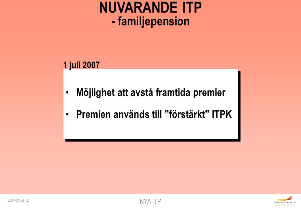 NYA ITP 2007-01 sid 12 Möjlighet att avstå framtida premier Premien används till förstärkt ITPK Möjlighet att avstå framtida premier Premien används till förstärkt ITPK NUVARANDE ITP - familjepension 1 juli 2007