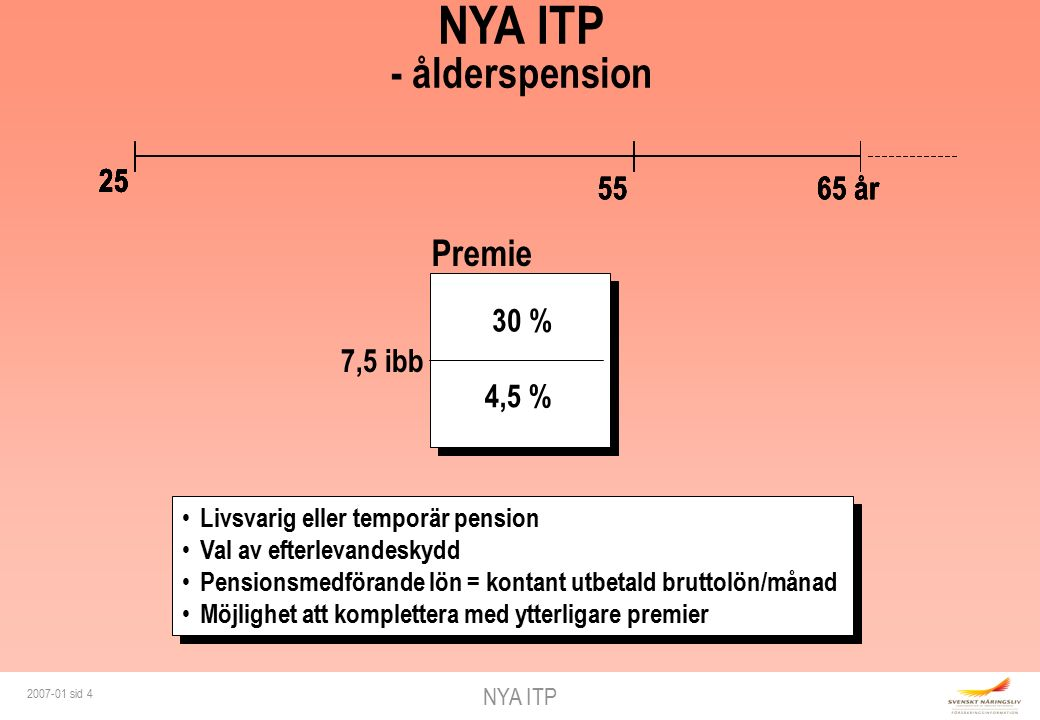 NYA ITP 2007-01 sid 4 25 65 år 30 % 55 25 65 år 30 % 55 25 65 år 30 % 55 NYA ITP - ålderspension 25 65 år 30 % 4,5 % 7,5 ibb Premie 55 25 Livsvarig eller temporär pension Val av efterlevandeskydd Pensionsmedförande lön = kontant utbetald bruttolön/månad Möjlighet att komplettera med ytterligare premier Livsvarig eller temporär pension Val av efterlevandeskydd Pensionsmedförande lön = kontant utbetald bruttolön/månad Möjlighet att komplettera med ytterligare premier