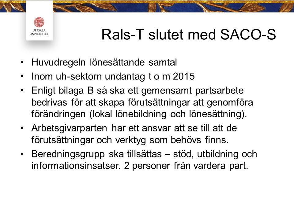 Rals-T slutet med SACO-S Huvudregeln lönesättande samtal Inom uh-sektorn undantag t o m 2015 Enligt bilaga B så ska ett gemensamt partsarbete bedrivas för att skapa förutsättningar att genomföra förändringen (lokal lönebildning och lönesättning).