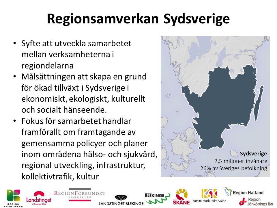 Regionsamverkan Sydsverige Syfte att utveckla samarbetet mellan verksamheterna i regiondelarna Målsättningen att skapa en grund för ökad tillväxt i Sydsverige i ekonomiskt, ekologiskt, kulturellt och socialt hänseende.