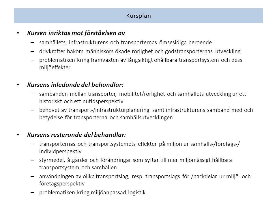 Läshänvisning DatTidLärFöreläsningstitelLitteratur 1/910-12KTHållbar utveckling- 2/98-10JO Transportsystem, investeringar och samhällsutveckling Lakshmanan & Chatterjee 2005, Rodrigue et al.