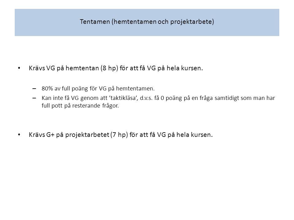 Tentamen (hemtentamen och projektarbete) Krävs VG på hemtentan (8 hp) för att få VG på hela kursen.