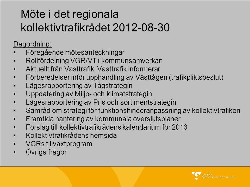 Möte i det regionala kollektivtrafikrådet 2012-08-30 Dagordning: Föregående mötesanteckningar Rollfördelning VGR/VT i kommunsamverkan Aktuellt från Vä