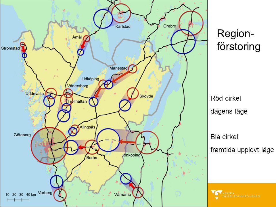 Röd cirkel dagens läge Blå cirkel framtida upplevt läge Region- förstoring