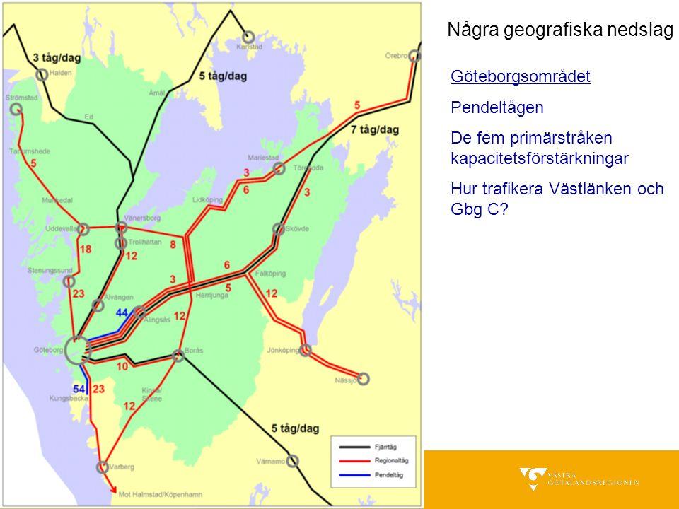 Några geografiska nedslag Göteborgsområdet Pendeltågen De fem primärstråken kapacitetsförstärkningar Hur trafikera Västlänken och Gbg C?