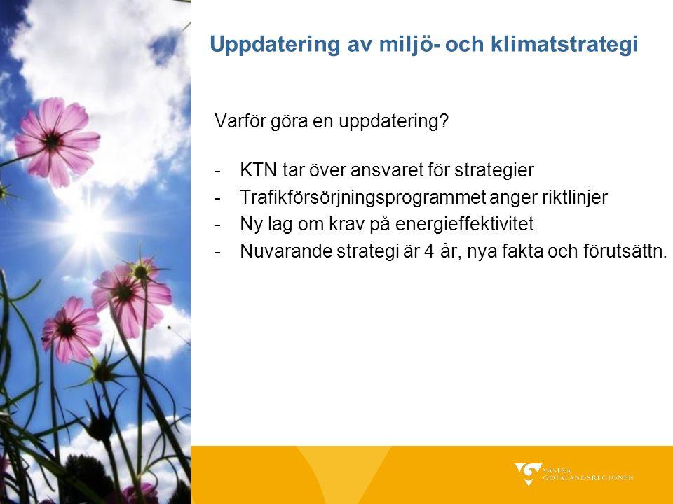 Uppdatering av miljö- och klimatstrategi Varför göra en uppdatering? -KTN tar över ansvaret för strategier -Trafikförsörjningsprogrammet anger riktlin
