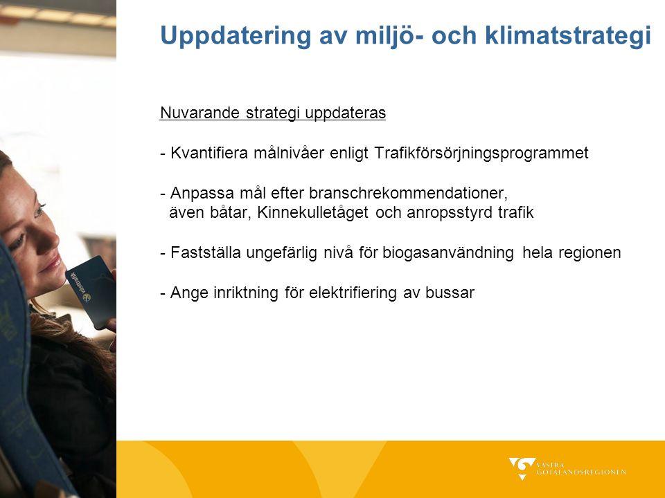Nuvarande strategi uppdateras - Kvantifiera målnivåer enligt Trafikförsörjningsprogrammet - Anpassa mål efter branschrekommendationer, även båtar, Kin