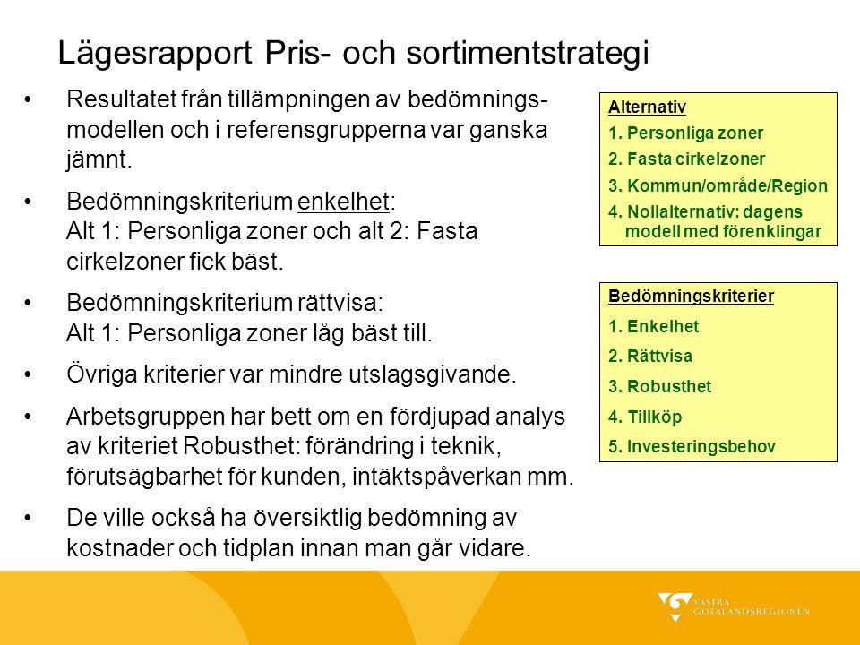 Lägesrapport Pris- och sortimentstrategi Resultatet från tillämpningen av bedömnings- modellen och i referensgrupperna var ganska jämnt. Bedömningskri