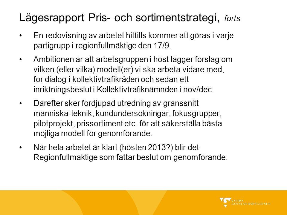 Lägesrapport Pris- och sortimentstrategi, forts En redovisning av arbetet hittills kommer att göras i varje partigrupp i regionfullmäktige den 17/9. A