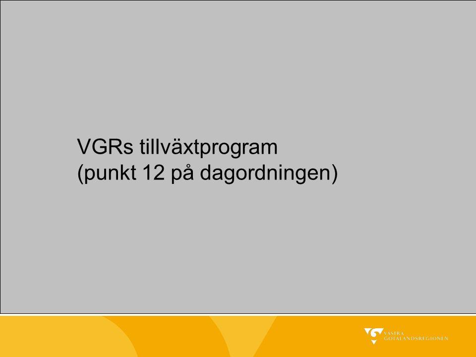 VGRs tillväxtprogram (punkt 12 på dagordningen)
