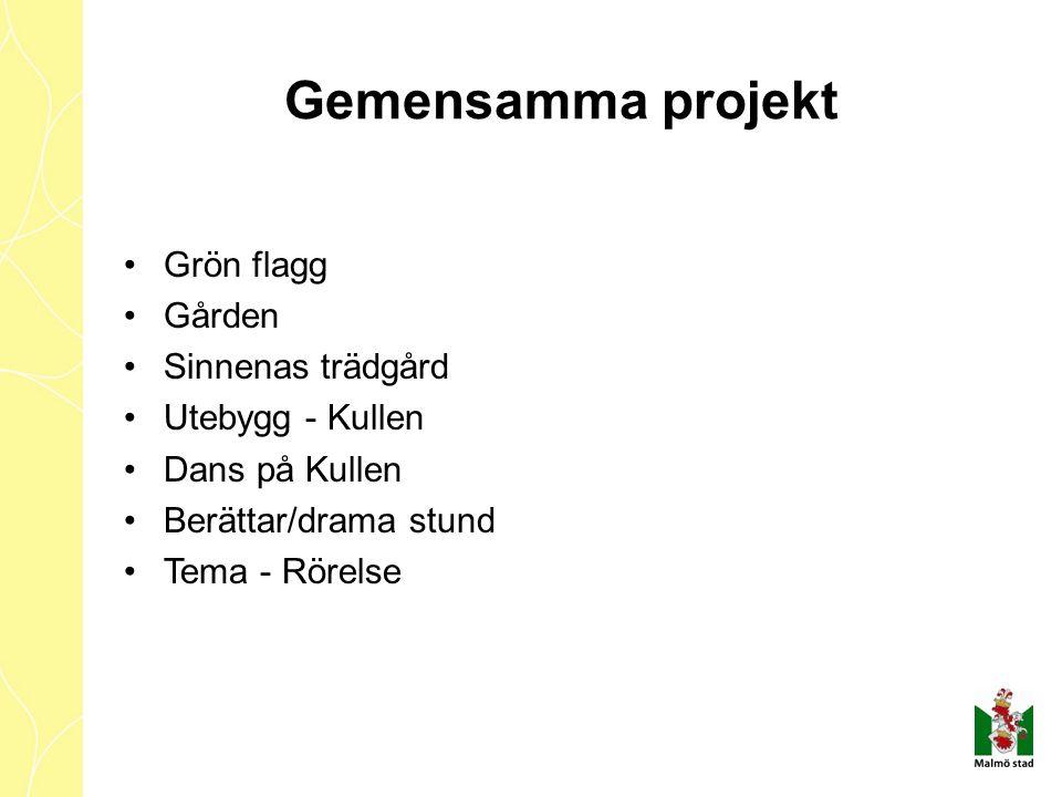 Gemensamma projekt Grön flagg Gården Sinnenas trädgård Utebygg - Kullen Dans på Kullen Berättar/drama stund Tema - Rörelse
