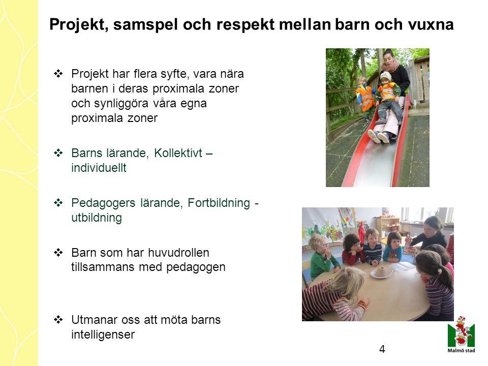  Projekt har flera syfte, vara nära barnen i deras proximala zoner och synliggöra våra egna proximala zoner  Barns lärande, Kollektivt – individuell