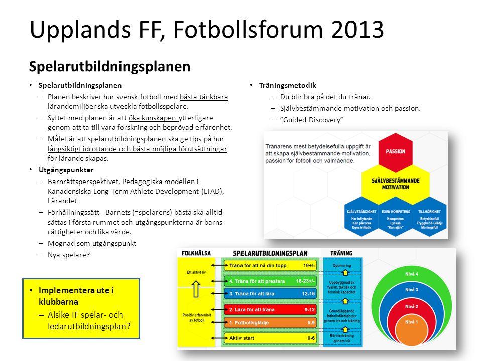 Upplands FF, Fotbollsforum 2013 Spelarutbildningsplanen – Planen beskriver hur svensk fotboll med bästa tänkbara lärandemiljöer ska utveckla fotbollsspelare.