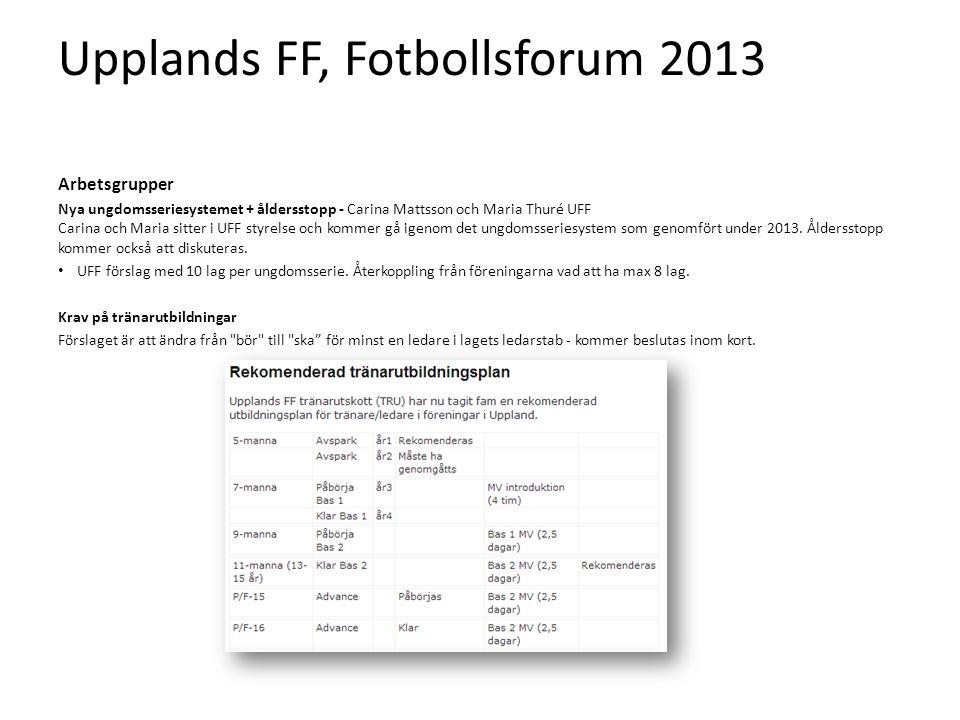 Upplands FF, Fotbollsforum 2013 Arbetsgrupper Nya ungdomsseriesystemet + åldersstopp - Carina Mattsson och Maria Thuré UFF Carina och Maria sitter i UFF styrelse och kommer gå igenom det ungdomsseriesystem som genomfört under 2013.