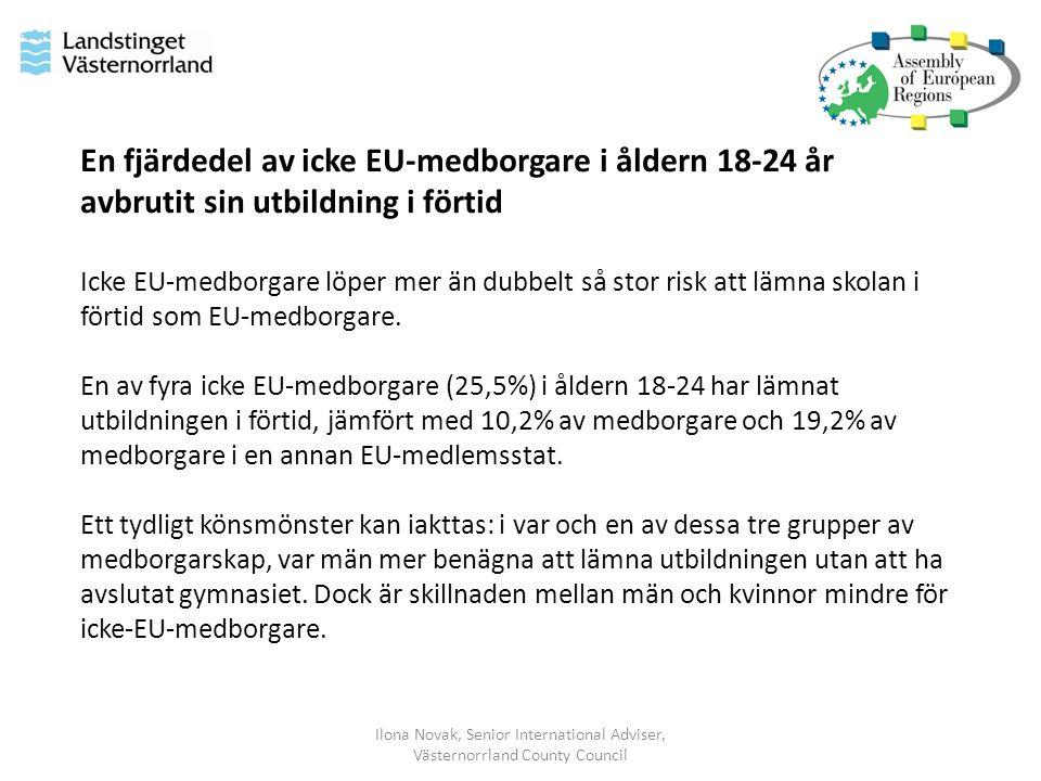Ilona Novak, Senior International Adviser, Västernorrland County Council En fjärdedel av icke EU-medborgare i åldern 18-24 år avbrutit sin utbildning i förtid Icke EU-medborgare löper mer än dubbelt så stor risk att lämna skolan i förtid som EU-medborgare.