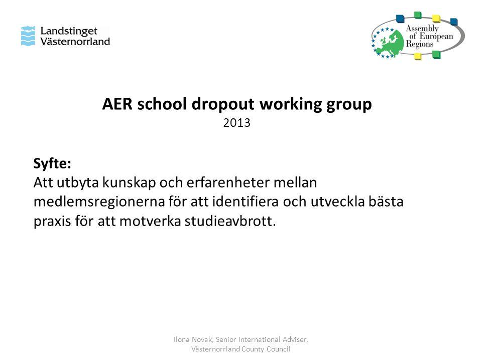 AER school dropout working group 2013 Syfte: Att utbyta kunskap och erfarenheter mellan medlemsregionerna för att identifiera och utveckla bästa praxis för att motverka studieavbrott.