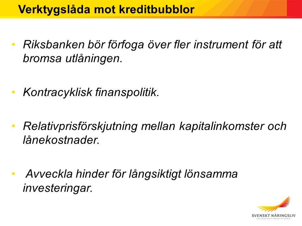 Verktygslåda mot kreditbubblor Riksbanken bör förfoga över fler instrument för att bromsa utlåningen.