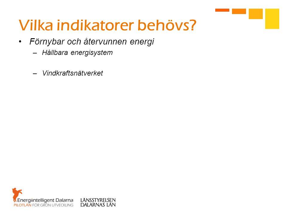 Vilka indikatorer behövs? Förnybar och återvunnen energi –Hållbara energisystem –Vindkraftsnätverket