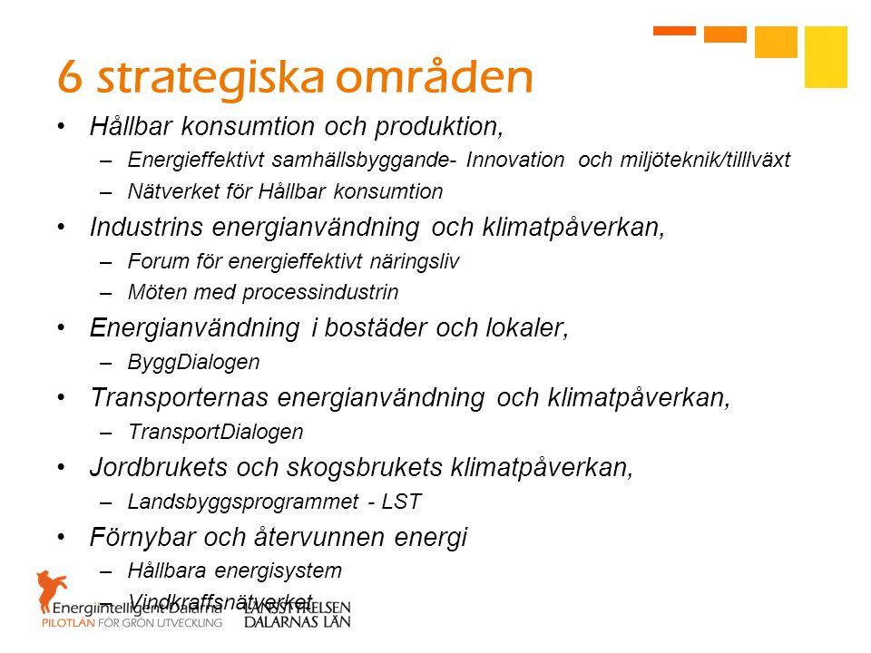 6 strategiska områden Hållbar konsumtion och produktion, –Energieffektivt samhällsbyggande- Innovation och miljöteknik/tilllväxt –Nätverket för Hållba